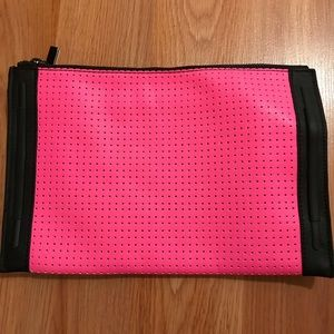 French connection zipper pouch clutch